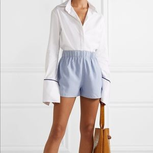 NWT Tibi Pale Blue Synthetic Chambray Shorts